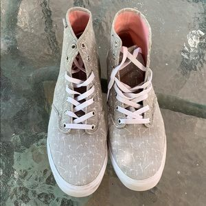 Grey and White Vans High Tops